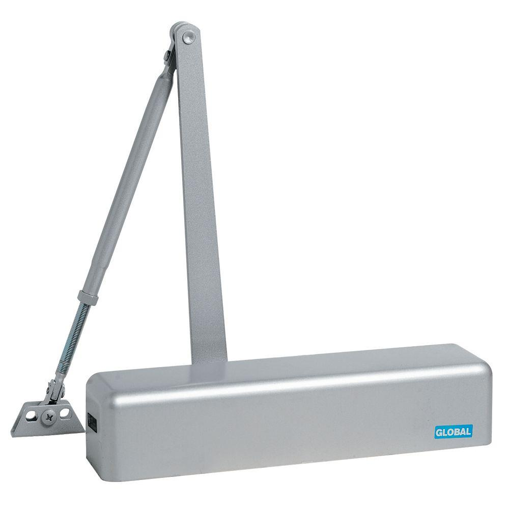 Commercial Full Cover Door Closer in Aluminum with Adjustable Spring Tension
