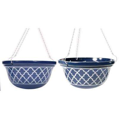 14 in. D Melamine Hanging Planter with Blue and White Medallion Pattern (2-Set)
