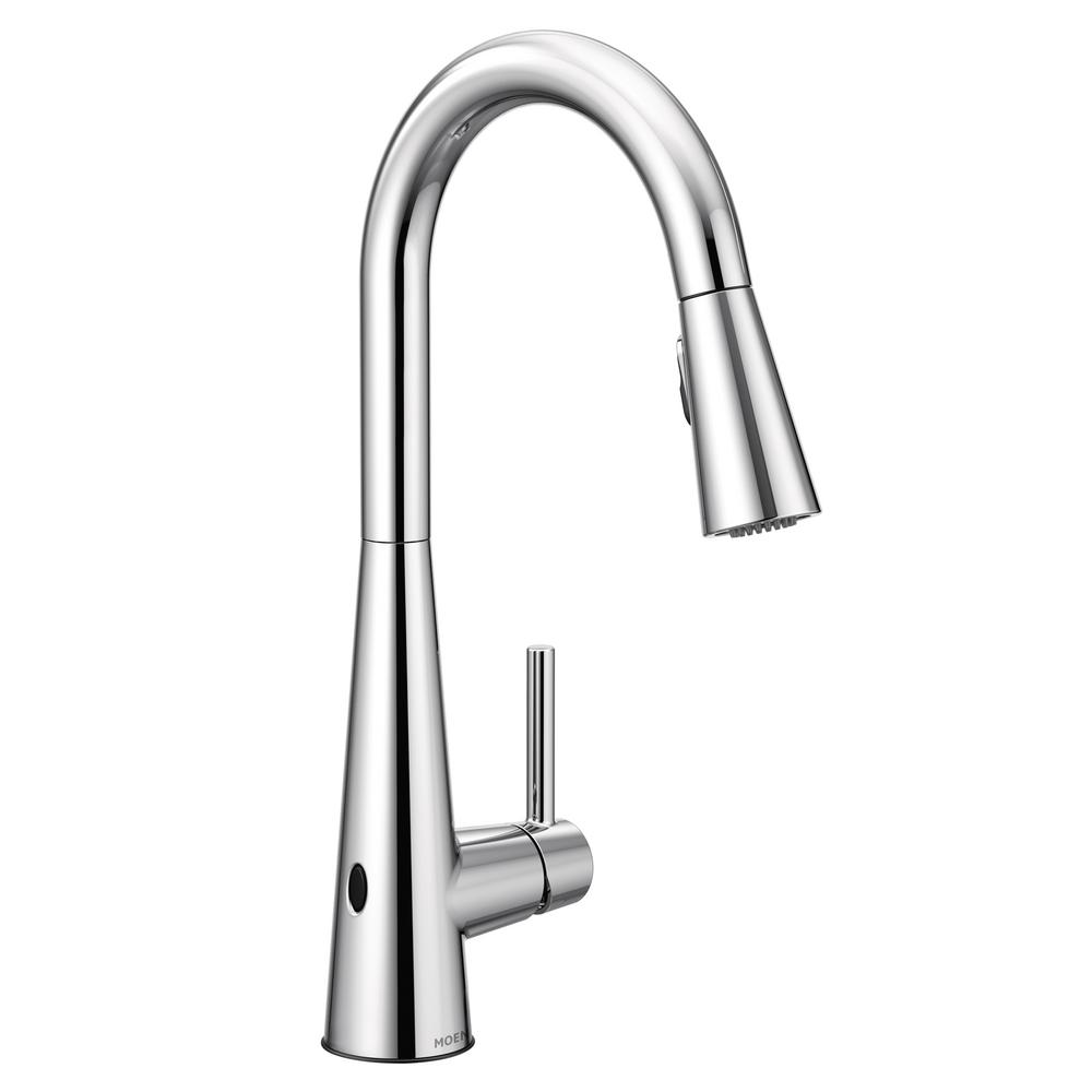 MOEN Sleek Touchless Single-Handle Pull-Down Sprayer Kitchen Faucet with  MotionSense Wave in Chrome