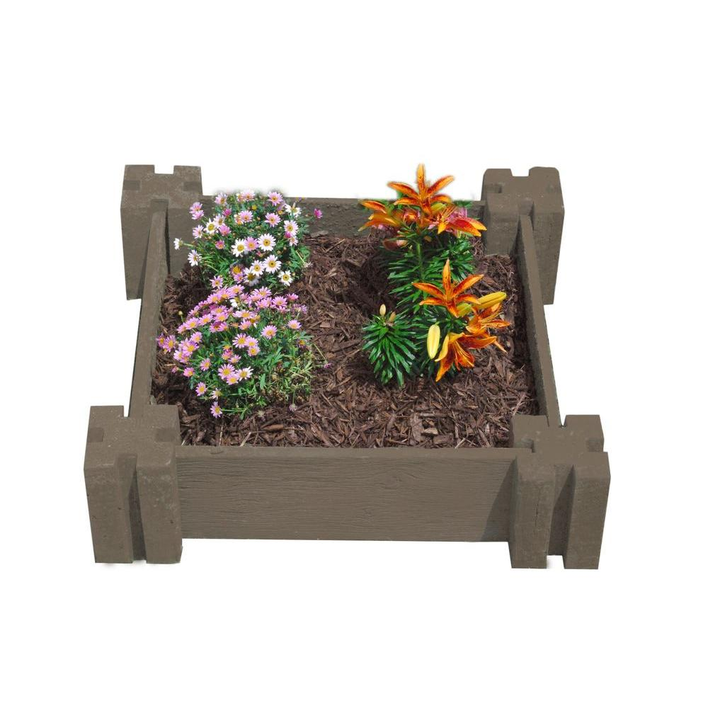 null Easy Garden 24 in. by 24 in. Concrete Raised Garden Bed Barnwood Brown-DISCONTINUED