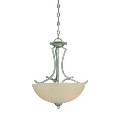 Triton 2-Light Moonlight Silver Pendant with Tea Stained Glass Shade