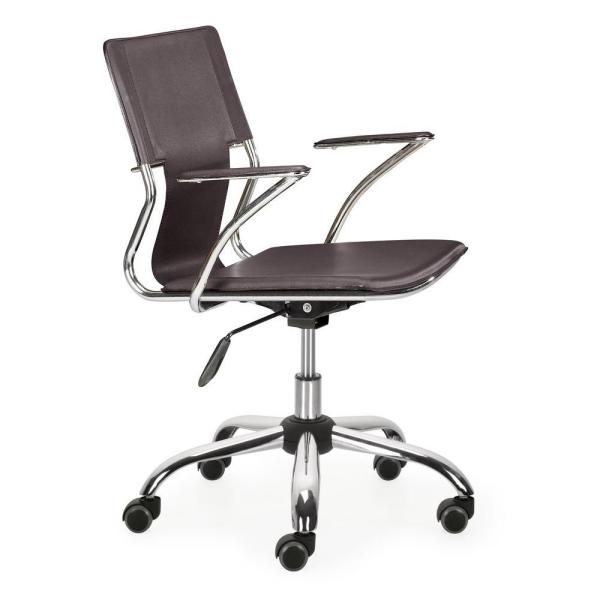 ZUO Trafico Espresso Leatherette Office Chair