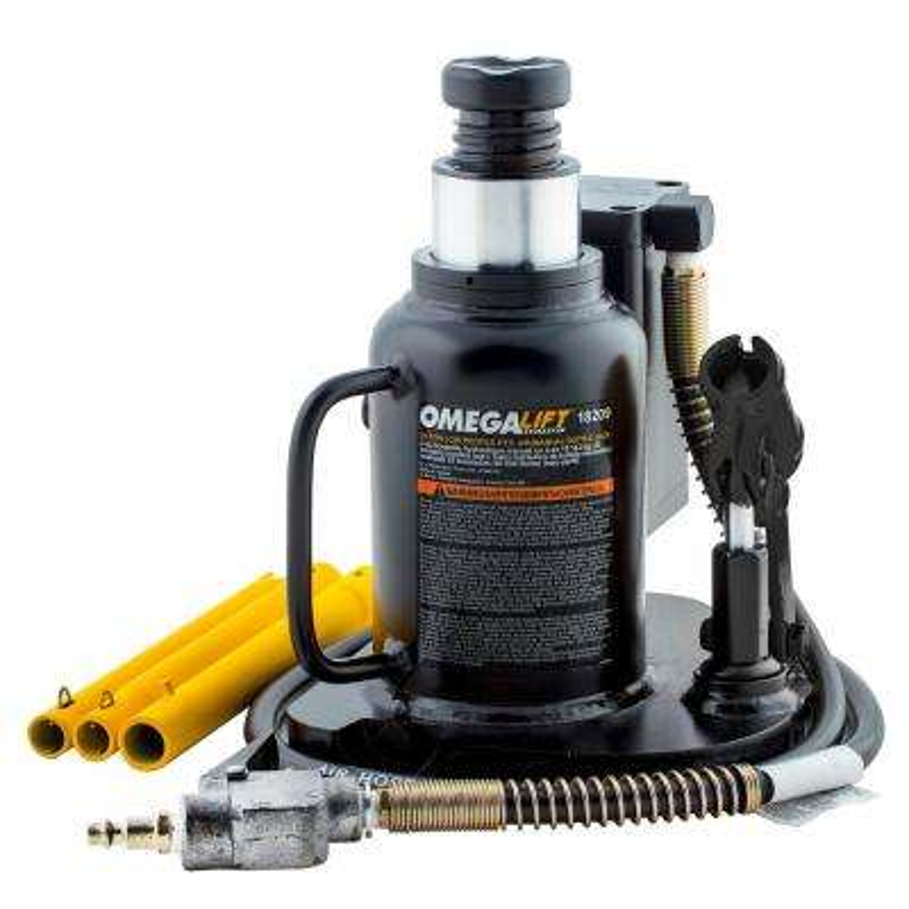 20-Ton Black Low Profile Air/Hydraulic Welded Bottle Jack
