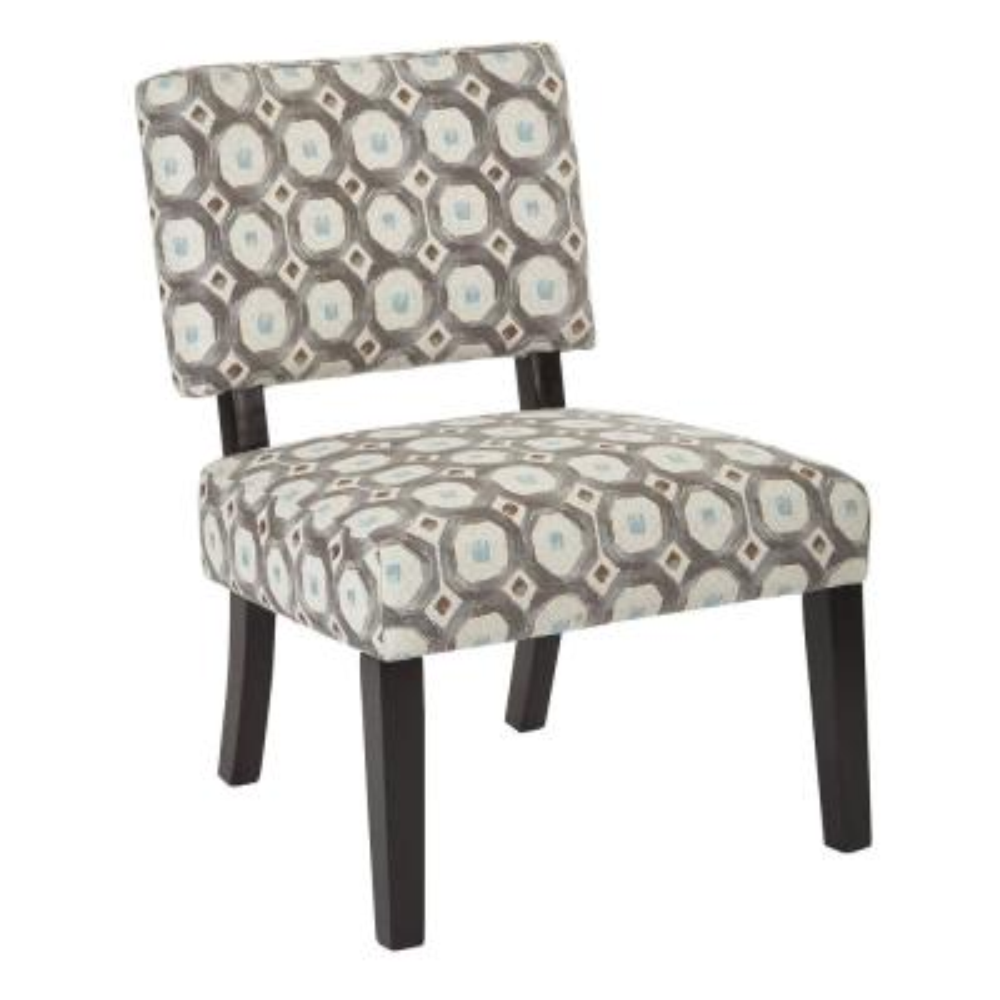 Jasmine Geo Dot Dove Fabric Accent Chair
