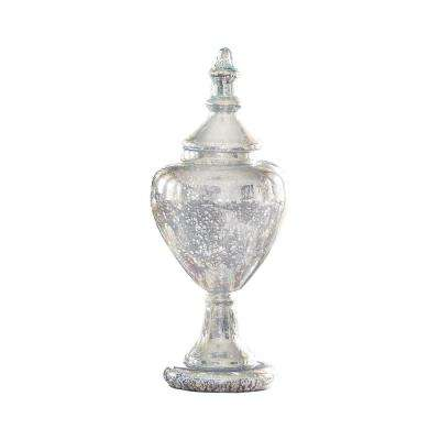 Cassia 26 in. x 10 in. Antique Silver Finished Glass Decorative Apothecary Jar