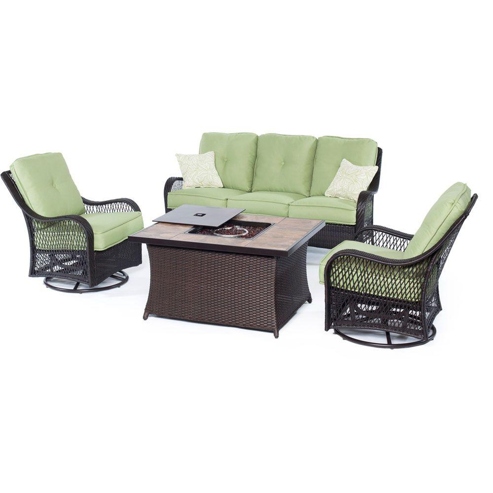 Hanover Orleans 4 Piece All Weather Wicker Patio Fire Pit Seating Set With Avocado Green Cushions