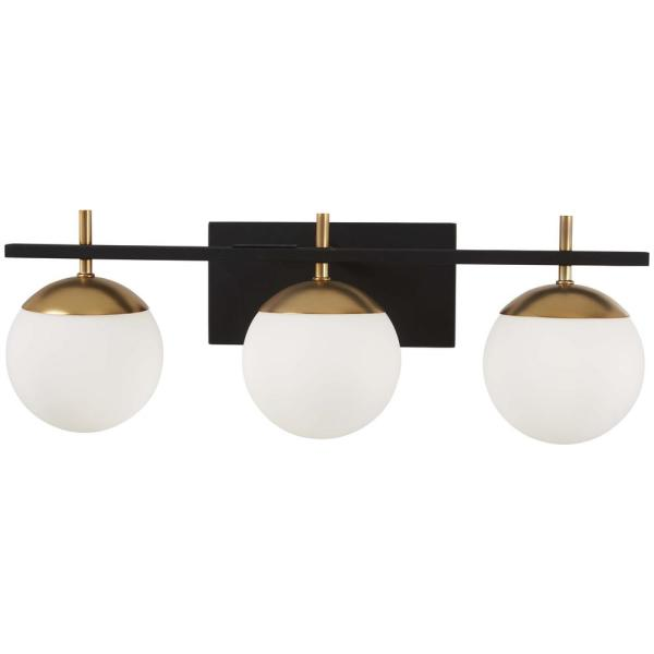 Alluria 3-Light Weathered Black with Autumn Gold Accents Bath Light