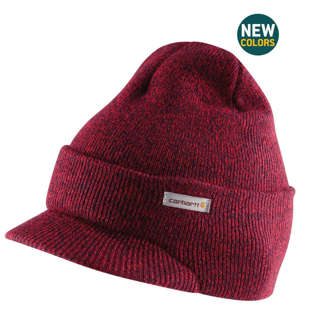 c4a025bba35 Carhartt Men s OFA Red Navy Acrylic Knit Hat with Visor-A164-648 ...
