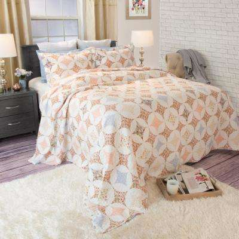 Charlotte Orange Polyester Full/Queen Quilt