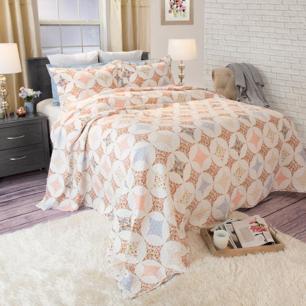 Charlotte Orange Polyester Twin Quilt