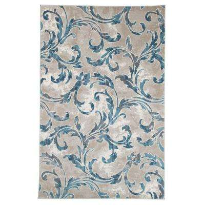 Vintage Leaves Ivory Blue 8 ft. x 10 ft. Area Rug