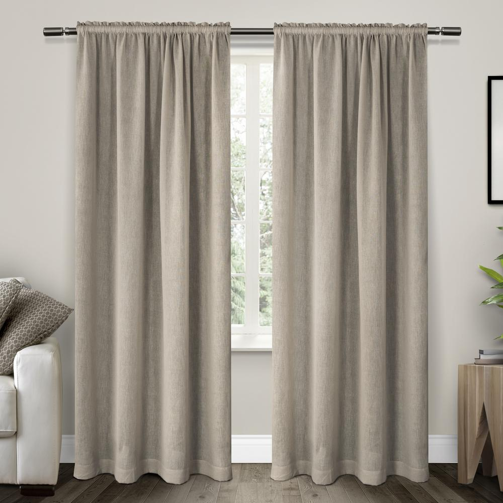 charming Textured Sheer Curtains Part - 5: Belgian Grey Textured Linen Look Jacquard Sheer Rod Pocket Top Window  Curtain