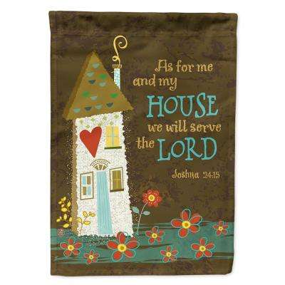 11 in. x 15-1/2 in. Polyester As For Me And My House 2-Sided 2-Ply Garden Flag