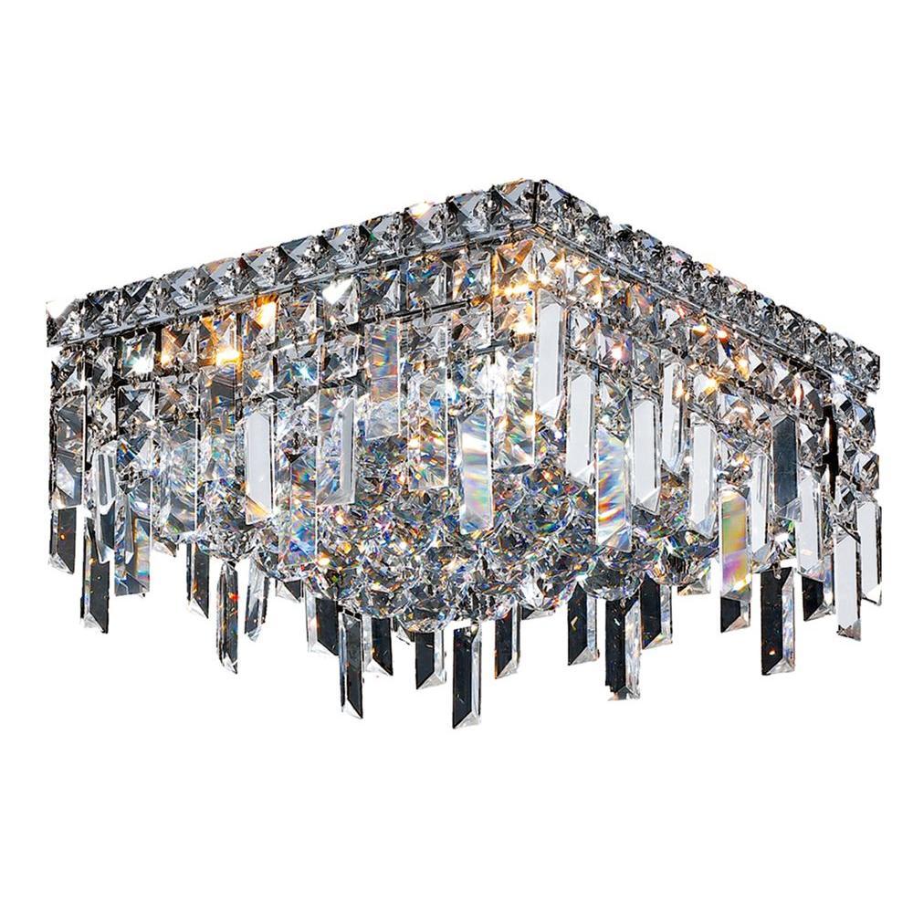 Cascade Collection 4-Light Chrome Crystal Flushmount