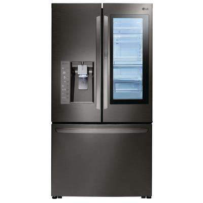 24 cu. ft. 3-Door French Door Refrigerator with InstaView Door-in-Door in Black Stainless Steel, Counter Depth