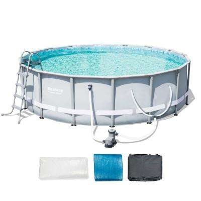 16 ft. x 48 in. D Steel Pro Frame Above Ground Pool Set with Filter and Ladder