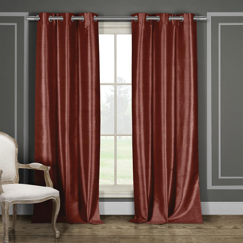 Duck River Daenerys 38 in. x 96 in. L Polyester Faux Silk Curtain Panel in Wine (2-Pack)