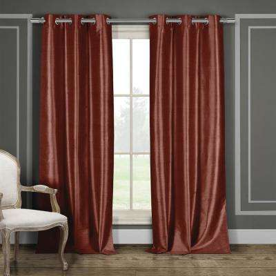 Daenerys 38 in. x 96 in. L Polyester Faux Silk Curtain Panel in Wine (2-Pack)