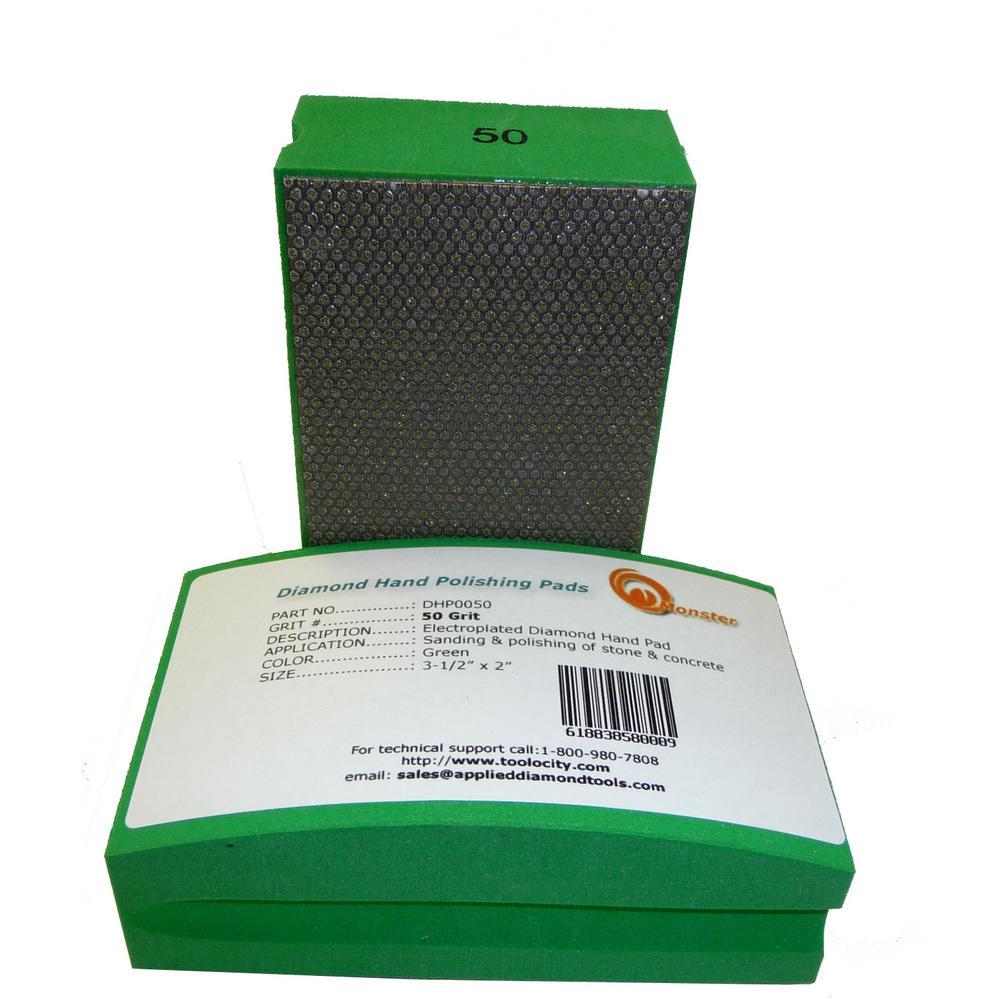 50-Grit Diamond Hand Polishing Pads Block Type