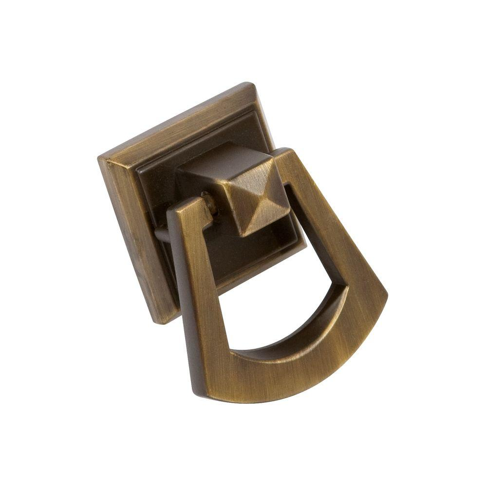 Sumner Street Home Hardware Symmetry 1-1/2 in. Square Vintage Brass Ring Pull
