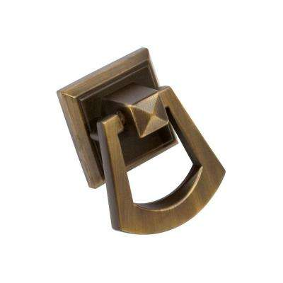 Symmetry 1-1/2 in. Square Vintage Brass Ring Pull