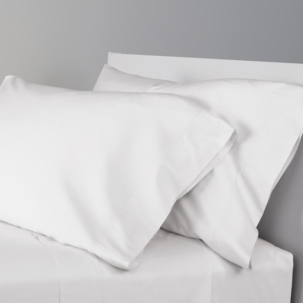 White Solid 300 Thread Count Bamboo Cotton Sa King Pillowcase Set Of 2