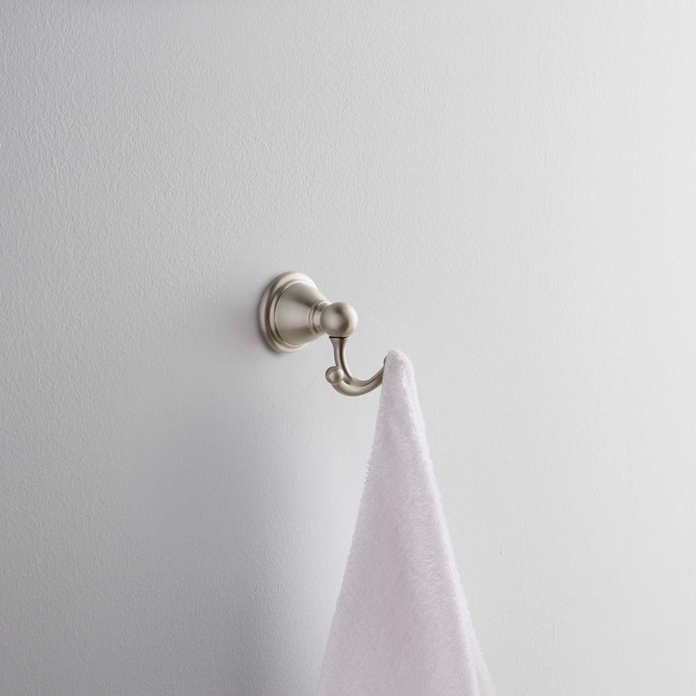 Brantford Double Robe Hook in Brushed Nickel