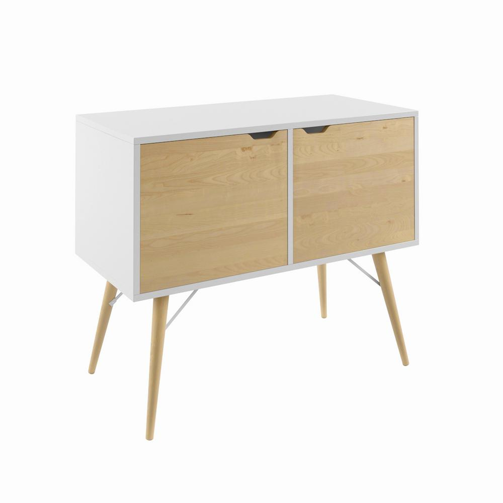 Blythe White Storage Cabinet with Natural Wood Finish