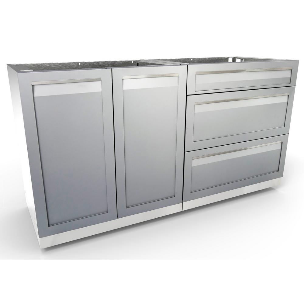Stainless Steel 2-Piece 64x35x22.5 in. Outdoor Kitchen Cabinet Set with Powder