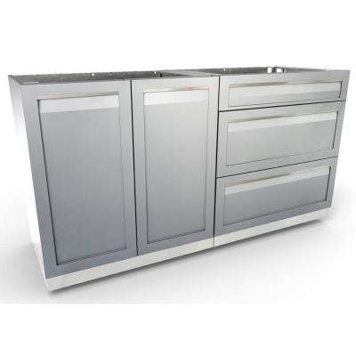 Stainless Steel 2-Piece 64x35x22.5 in. Outdoor Kitchen Cabinet Set with Powder Coated Doors in Gray