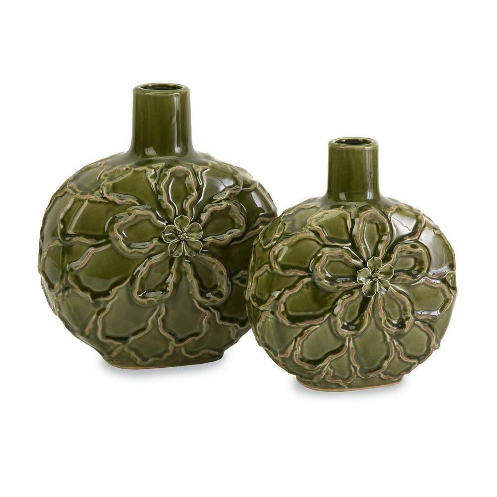 Lenor 12 in. Ceramic Decorative Vase in Green (Set of 2)