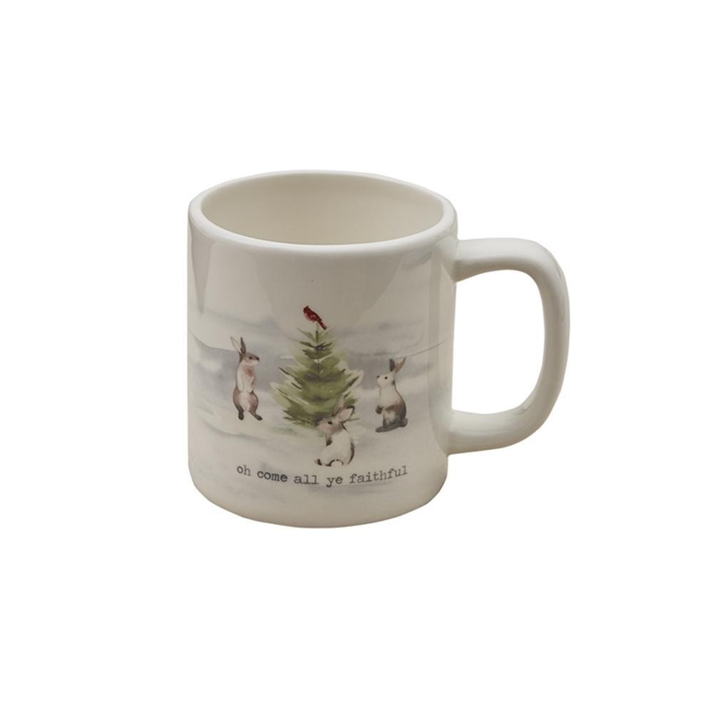 Winterland Faithful 16 oz. Multicolor Ceramic Coffee Mug (Set of 4)