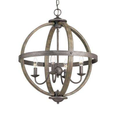 4 Light Iron Orb Chandelier With Elm Wood Accents
