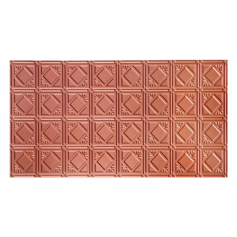 GlobalSpecialtyProducts Global Specialty Products Dimensions Faux 2 ft. x 4 ft. Tin Style Ceiling and Wall Tiles in Copper, Brown
