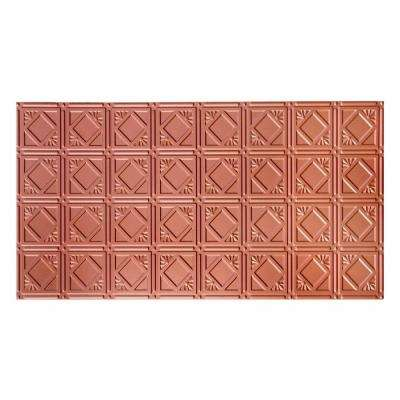 Dimensions Faux 2 ft. x 4 ft. Tin Style Ceiling and Wall Tiles in Copper