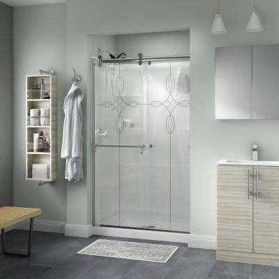 Portman 48 in. x 71 in. Semi-Frameless Contemporary Sliding Shower Door in Chrome with Tranquility Glass