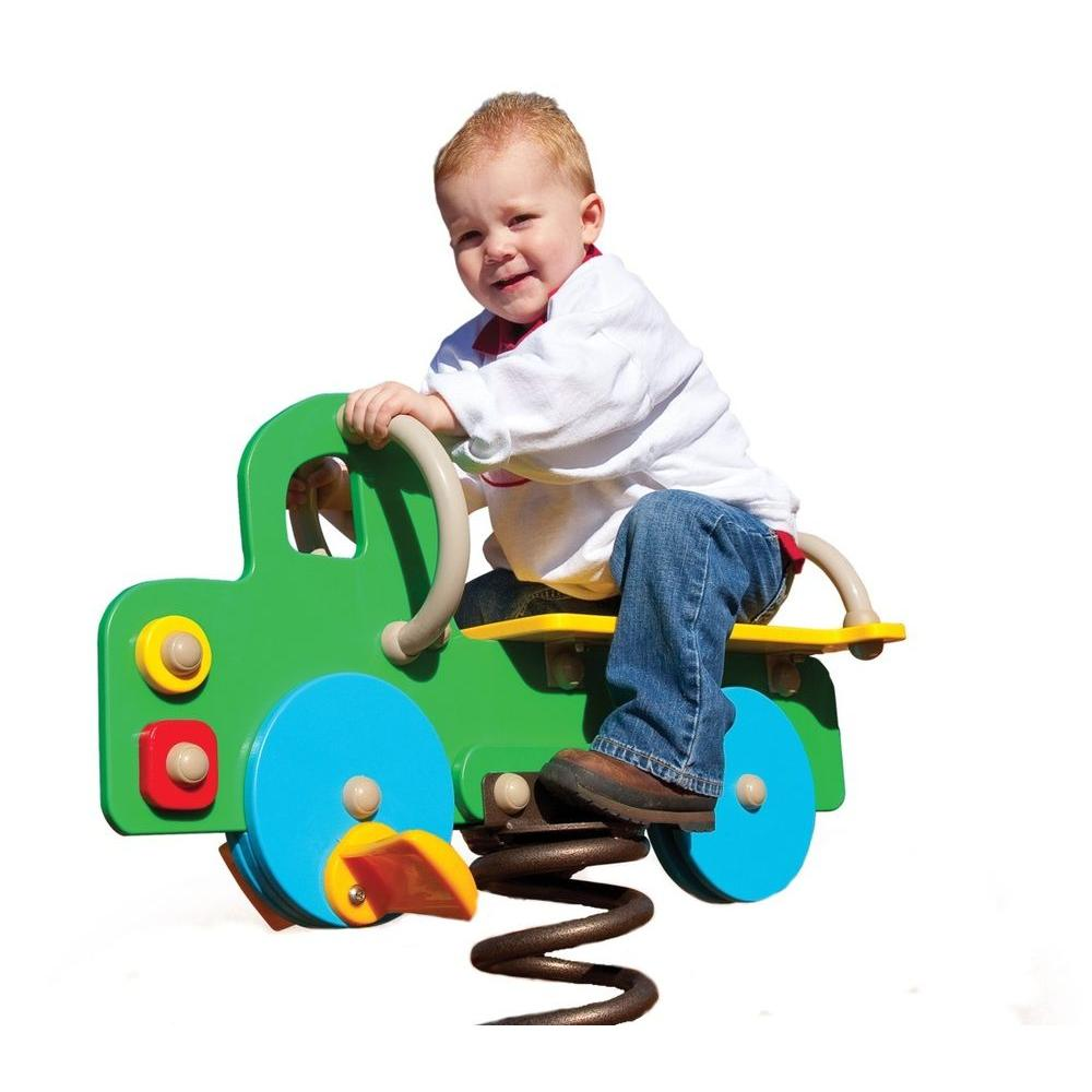 Ultra Play Green, Yellow and Blue Playground Commercial Truck Spring Rider
