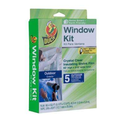 62 in. x 210 in. Crystal Clear Outdoor Window Kit Shrink Film (5-Pack)