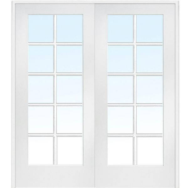 60 in. x 80 in. Both Active Primed MDF Glass 10-Lite Clear True Divided Prehung Interior French Door