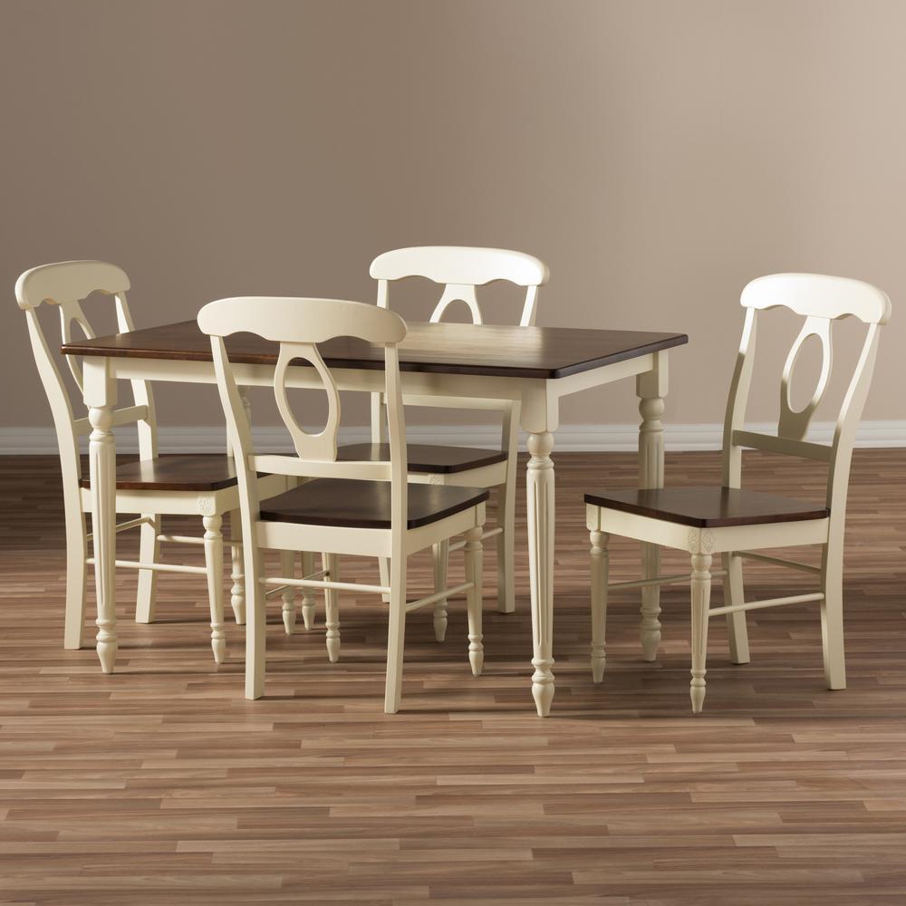 Baxton Studio Napoleon 5 Piece Buttermilk And Medium Brown Wood Dining Set 6943 6944 Hd The Home Depot