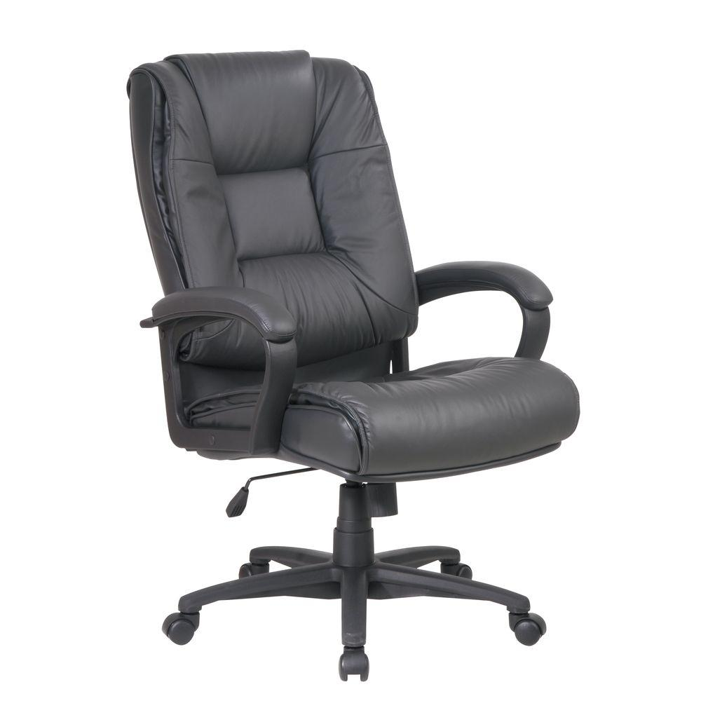 E Work Smart Dark Gray Leather High Back Executive Office Chair