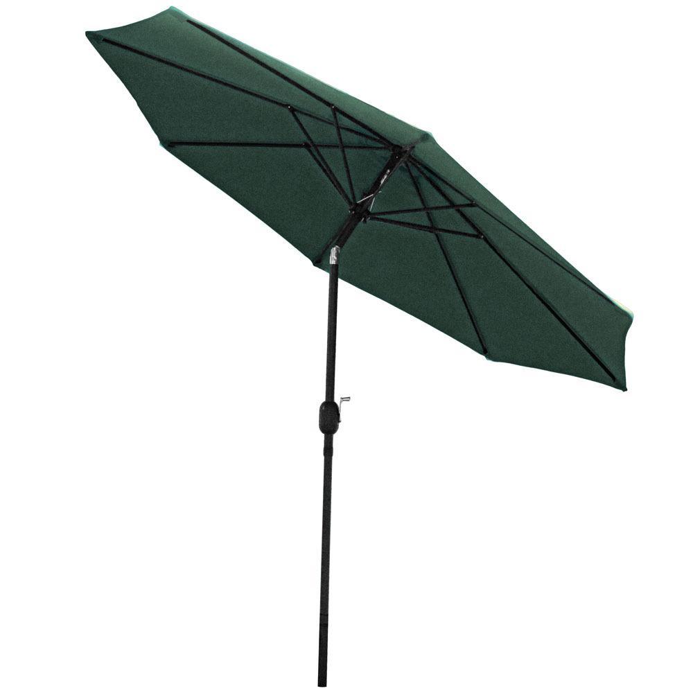 9 ft. Aluminum Market Tilt Patio Umbrella in Green