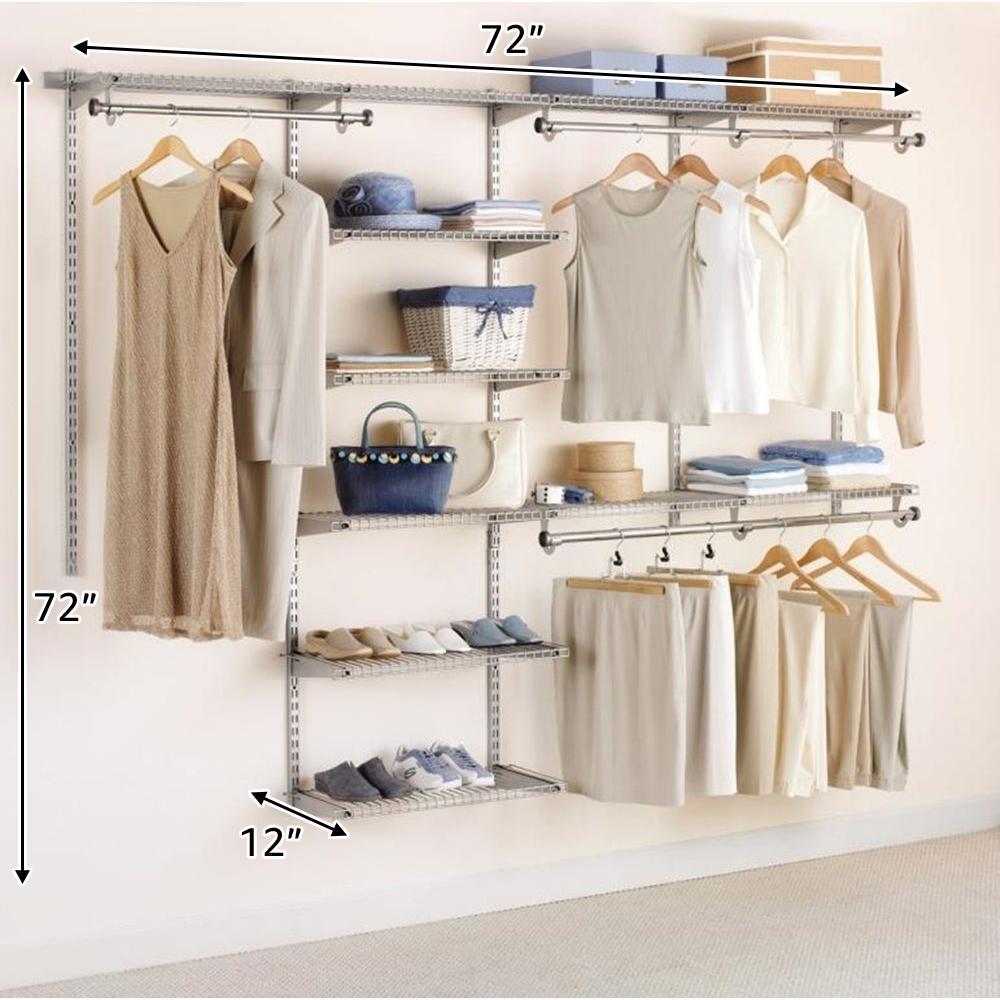 Rubbermaid Configurations Custom Closet Deluxe Kit White 4 8 Foot FG3H8900WHT