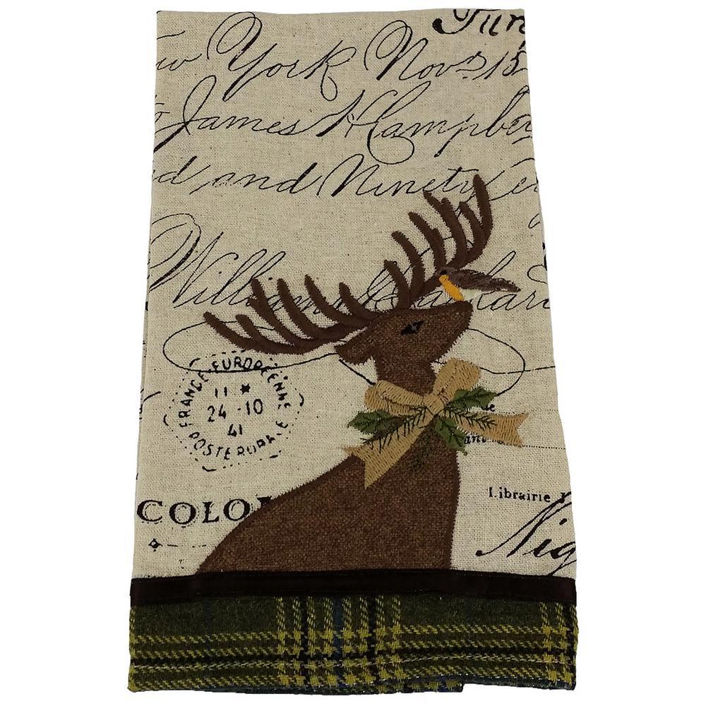 16 in. x 22 in. Reindeer With Applique Suede Collection Tea Towel