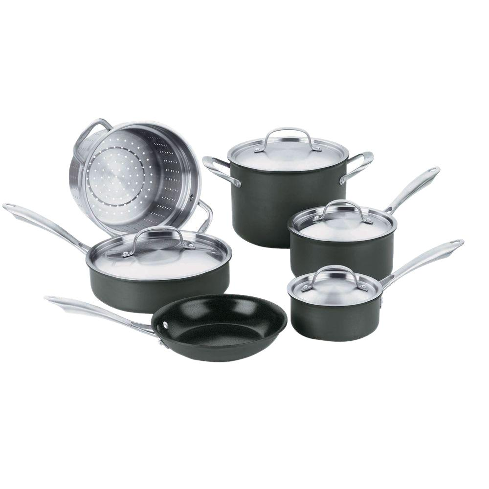 GreenGourmet 10-Piece Black Cookware Set with Lids