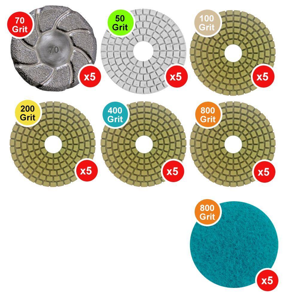 WerkMaster Scarab Concrete Countertop Polishing Tooling Package in Semi-Gloss