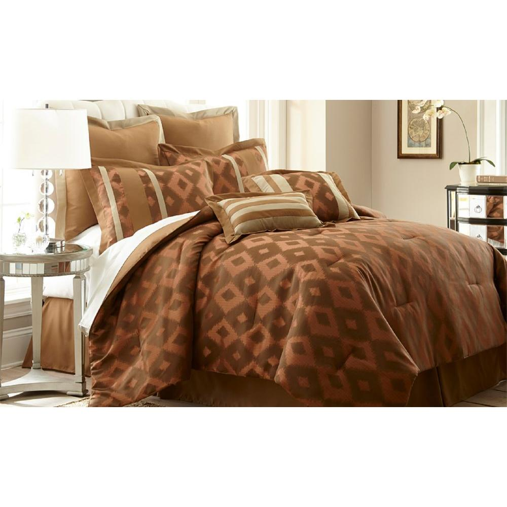 Pacific Coast Textiles Sienna Orange 8-Piece Jacquard Queen Comforter Set