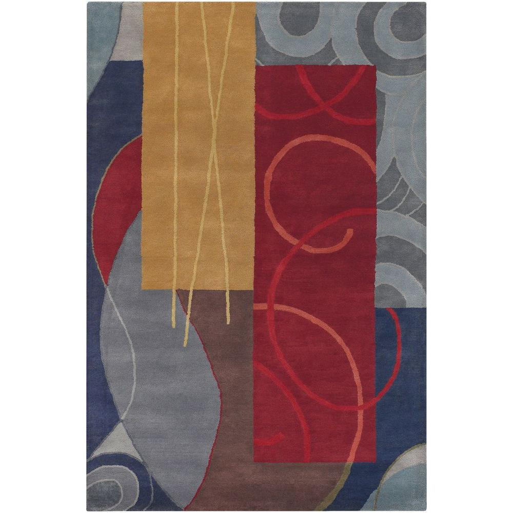 Chandra Bense Blue Red Gold Grey Brown 5 Ft X 8 Ft Indoor Area Rug