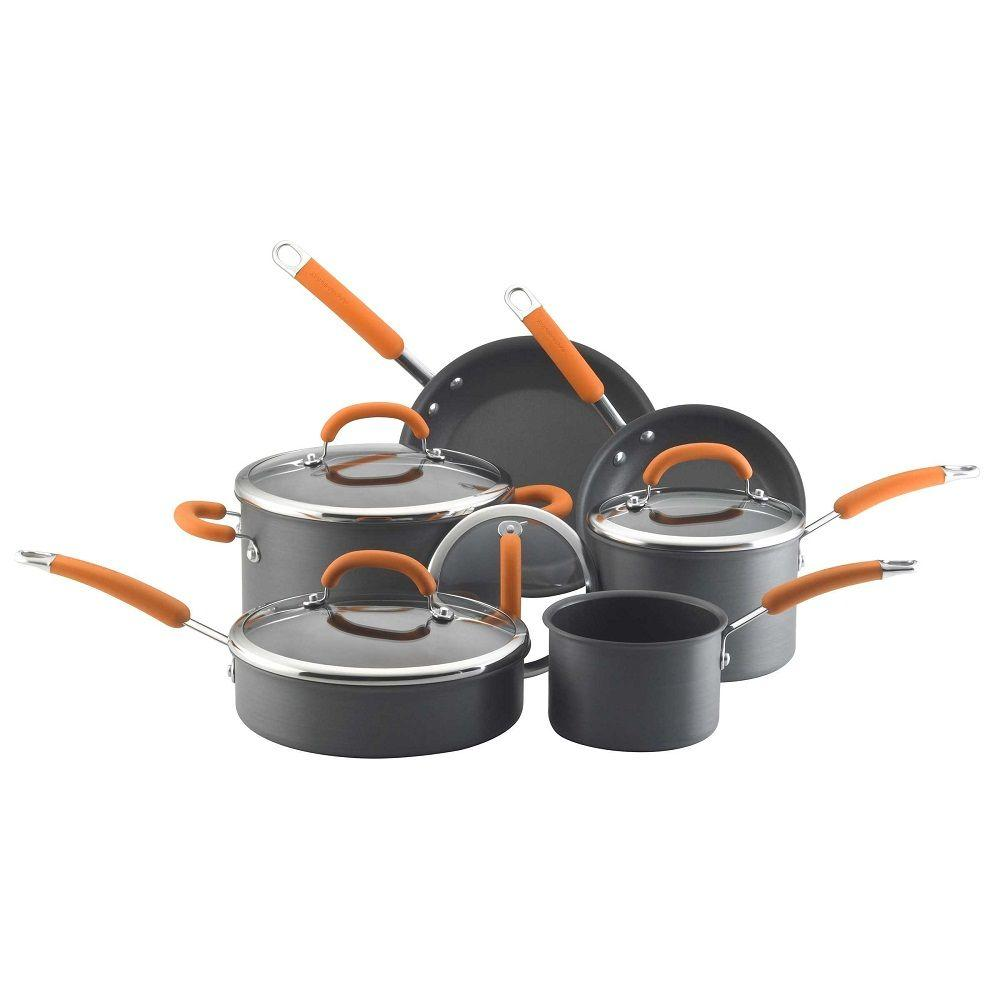 Rachael Ray 10 Piece Nonstick Hard Anodized Cookware Set with Orange Handles-DISCONTINUED