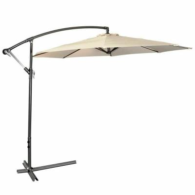 10 ft. Market Hanging Sun Shade Offset Outdoor Patio Umbrella with Cross Base in Beige